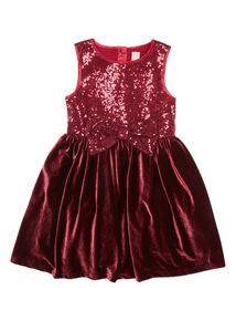 Red Velvet Sequin Dress (9 months-6 years)