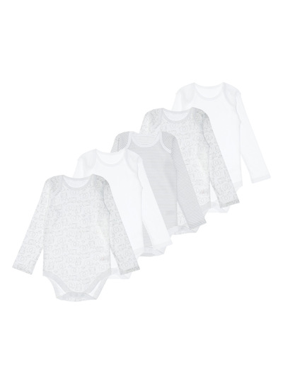 White Long Sleeved Bodysuits 5 Pack (0-24 months)