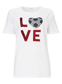 'LOVE' Football Sequinned T-Shirt