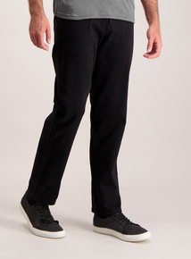Black Straight Leg Cotton Twill Jeans With Stretch