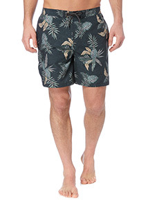 Khaki Leaf Pattern Cargo Shorts