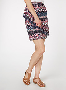 Multicoloured Aztec Frill Skirt