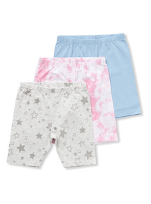 3 Pack Multicoloured Cycle Shorts (9 months-6 years)
