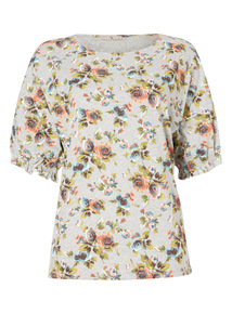 Multicoloured Floral Frill Top