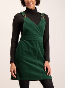Dark Green Corduroy Pinafore Dress