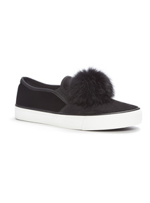 Black Pom Pom Skater Shoes