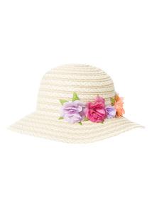 Cream Flower Floppy Hat (1 - 14 years)