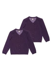 Girls Purple Cardigan 2 Pack (3-12 years)