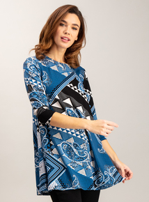 Multicoloured Patchwork Print Tunic