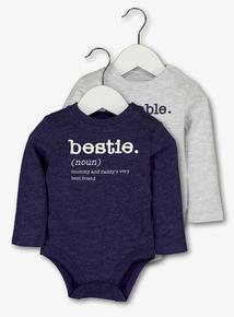 Grey & Navy 'Adorable' Slogan Bodysuits (0-24 months)