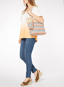 Lace Handle Beaded Canvas Bag