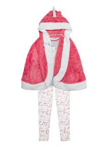 Pink Unicorn 3 Piece Pyjama Set with Cape
