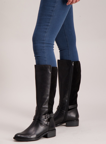 Sole Comfort Black Leather & Suede Riding Boots Wide Calf