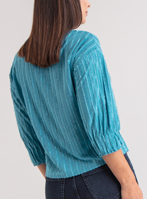 Premium Teal Stripe Jacquard Jersey Top