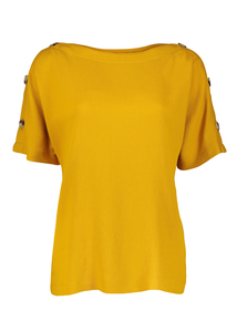 Premium Mustard Button Sleeve Top