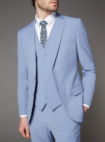 Pastel Blue Slim Fit Suit Jacket