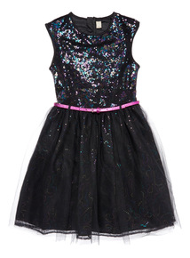 Black Sequin Occasion Dress (3-14 years)
