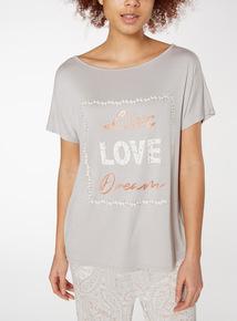 Light Grey 'Live Love Dream' Slogan Pyjama Top