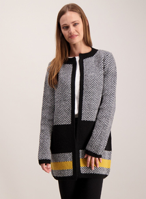Monochrome Chevron Knit Long Line Coatigan