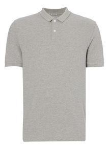 Grey Pique Marl Polo Shir