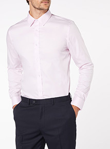 Pink Twill Cotton Tailored Fit Shirt