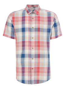 Red And Blue Check Linen Shirt