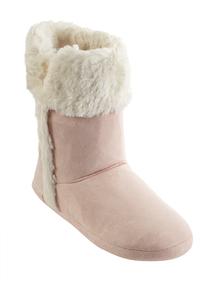 Pink Fluffy Fur Trim Slipper Boots