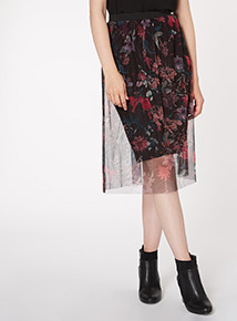 Floral Mesh Layer Skirt