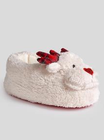 Christmas Cream Reindeer Slippers (6 Infant - 4 Child)