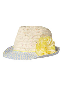 Multicoloured Trilby Hat With Flower (1 - 12 years)