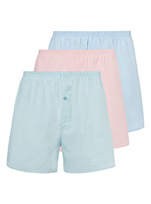 3 Pack Multicoloured Pastel Woven Boxers