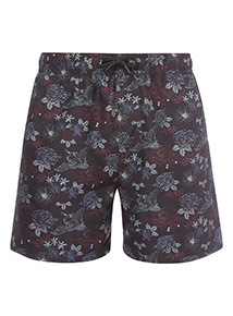 Online Exclusive Black Floral Print Swim Shorts
