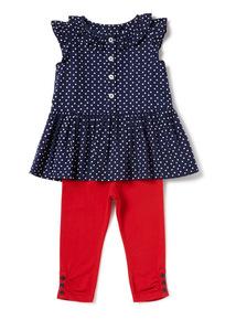 Navy Spot Leggings and Dress Set (0-24 months)
