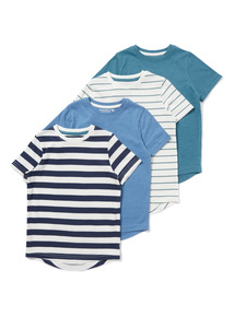 4 Pack Multicoloured Striped T-shirts (3-14 years)