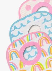 Multicoloured Rainbow Print Bibs 3 Pack