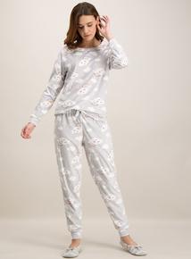 Grey Cloud Pyjamas With Cloud Pillow Set