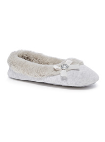 Faux Fur Collar Ballerina Slippers