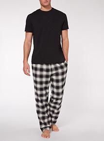 Black Tee and Check Trouser Pyjama Set