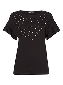 Short Sleeve Embellished Top