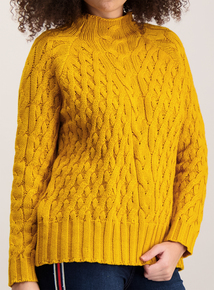 Mustard Funnel Neck Mixed Cable Jumper