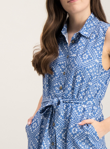 9e21b4027dc Blue Tile Print Sleeveless Shirt Dress