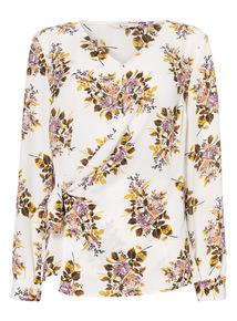 Multicoloured Tie Side Floral Print Blouse