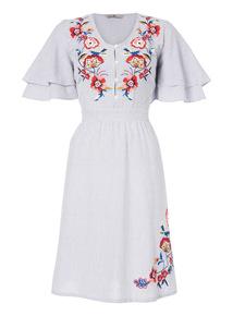 Blue Embroidered Stripe Dress
