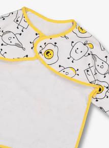 White & Yellow Snack Print Long-Sleeved Bib