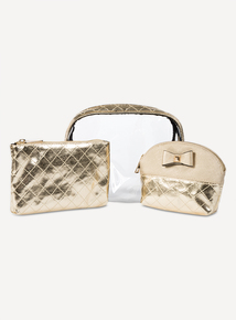 Metallic Gold Make-Up Bag 3 Piece Set