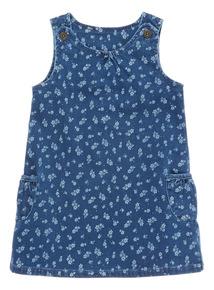 Girls Navy Loopback Pinafore Dress (0 - 24 months)