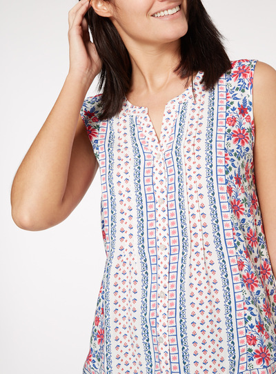 Floral Printed Sleeveless Shell Blouse