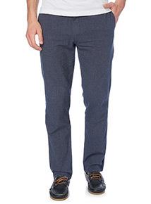 Blue Linen Blend Straight Jeans