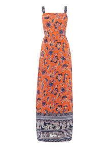 Orange Indonesia Printed Maxi Dress