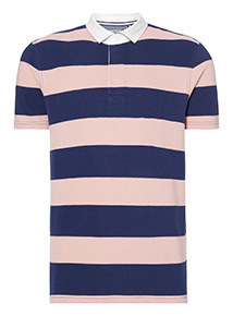 Pink and Navy Block Striped Rugby Shirt
